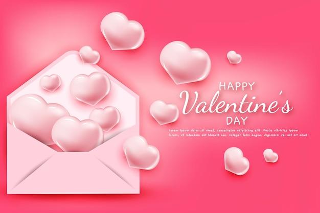 Feliz día de san valentín texto de saludo con corazones y sobre