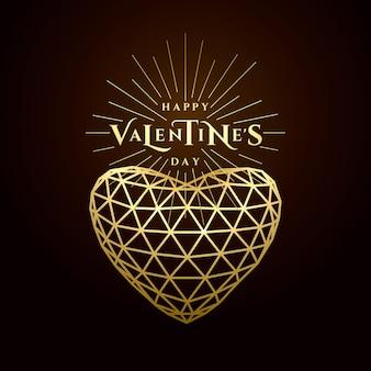 Feliz día de san valentín, texto de tipografía de saludo dorado. triángulo línea cuadrícula corazón de oro aislado