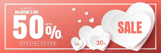 Feliz día de san valentín venta banner vector diseño