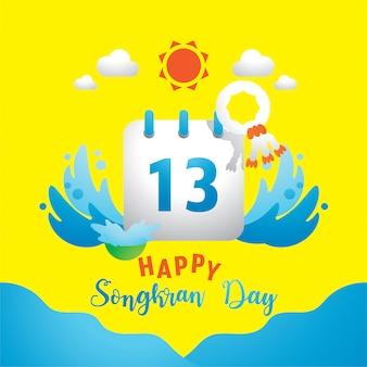 Feliz día de songkran con el 13 en el calendario