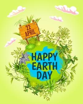 Feliz día de la tierra. 22 de abril. tarjeta de felicitación de dibujos animados.