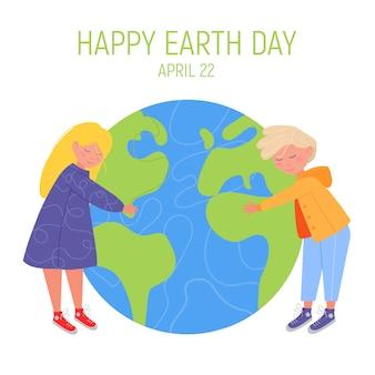 Feliz día de la tierra banner. pequeño y lindo niño y niña están abrazando el planeta.