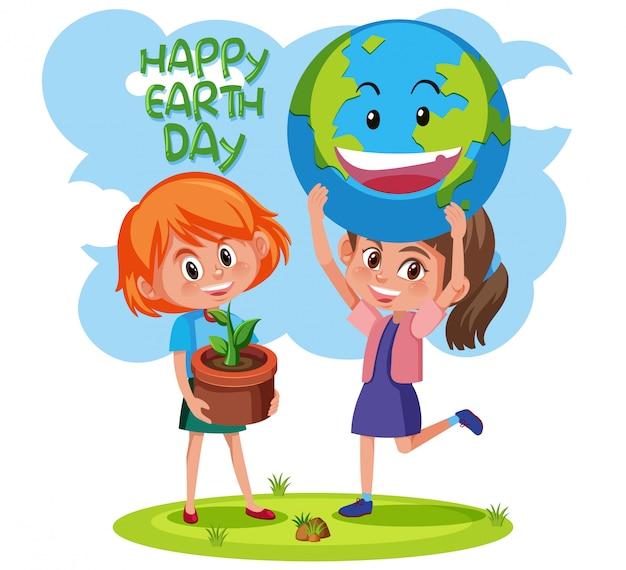 Feliz día de la tierra con el concepto de las niñas