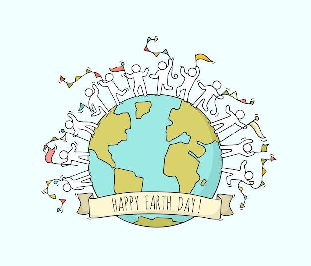 Feliz día de la tierra. ilustración de dibujos animados dibujados a mano.