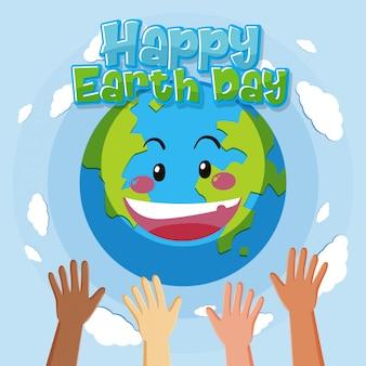 Feliz día de la tierra con manos humanas y feliz tierra