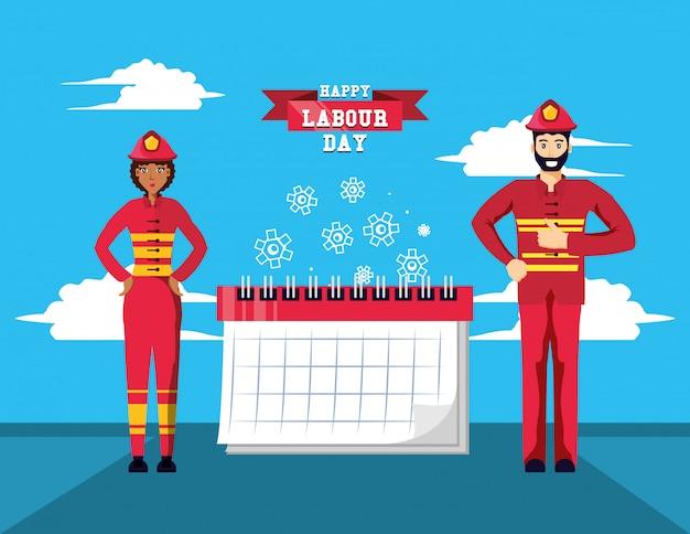 Feliz día del trabajo con bomberos y calendario