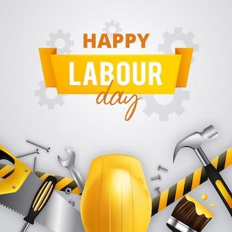 Feliz día del trabajo con casco amarillo y herramientas