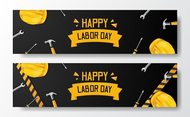 Feliz día del trabajo. casco amarillo de seguridad 3d y martillo, destornillador, llave y línea amarilla. plantilla de volante de banner