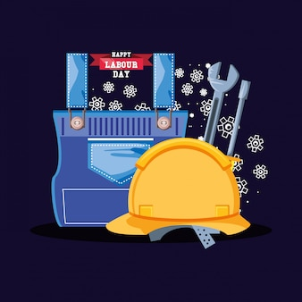 Feliz día del trabajo con casco de seguridad e íconos