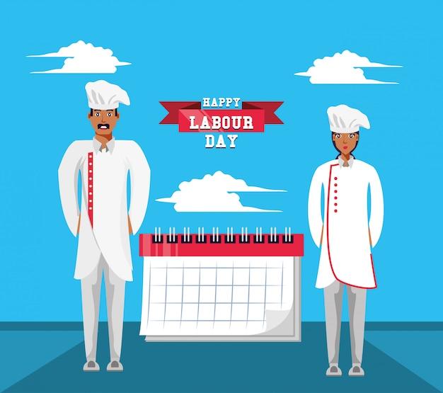 Feliz día del trabajo con chef y calendario