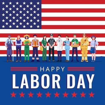 Feliz día del trabajo. diversas ocupaciones personas de pie con la bandera americana.