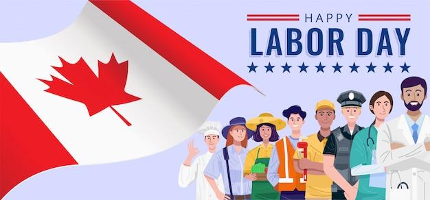 Feliz día del trabajo. diversas ocupaciones personas de pie con la bandera de canadá.