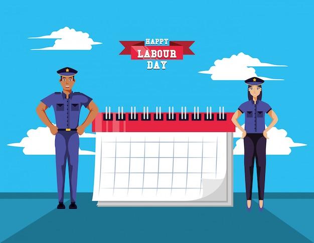 Feliz día del trabajo con la policía