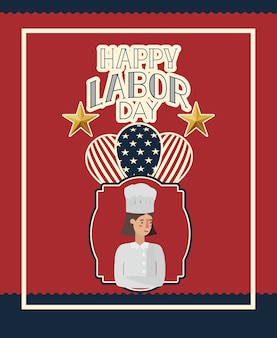 Feliz día del trabajo tarjeta con mujer chef y globos
