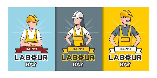 Feliz día del trabajo, trabajadores, conjunto de ilustración de trabajadores