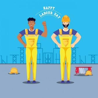Feliz día del trabajo con trabajadores de la construcción.