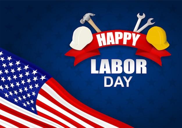 Feliz día del trabajo usa. diseño con martillo, casco de seguridad, llave y bandera americana.