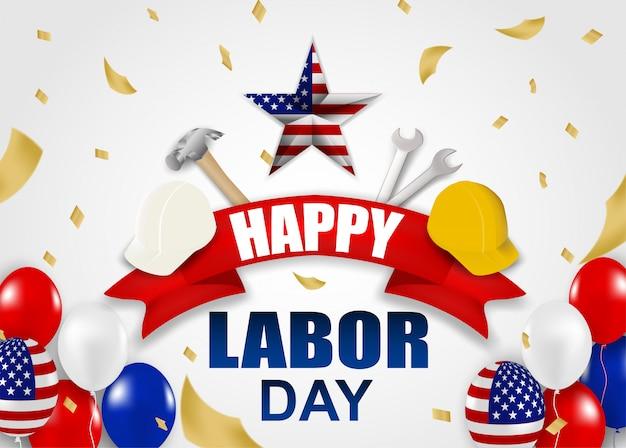 Feliz día del trabajo usa. diseño con martillo, casco de seguridad, llave, globos y bandera americana.
