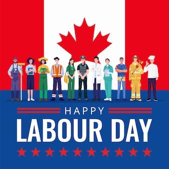 Feliz día del trabajo. varias ocupaciones personas de pie con la bandera de canadá.