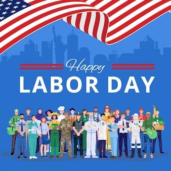 Feliz día del trabajo. varias ocupaciones personas de pie con bandera estadounidense.