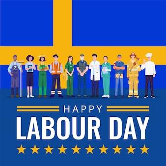 Feliz día del trabajo. varias ocupaciones personas de pie con la bandera de suecia.