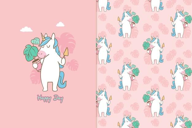 Feliz día unicornio de patrones sin fisuras