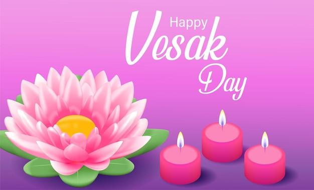 Feliz día de vesak budha purnama fondo con loto rosa realista