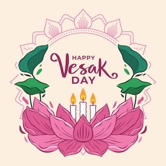 Feliz día de vesak con flor de loto y velas