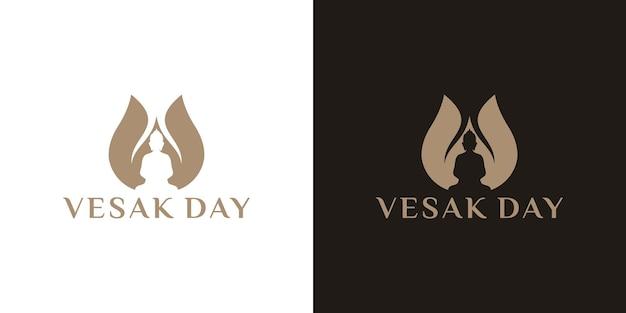 Feliz día de vesak o diseño de logotipo de buddha purnima
