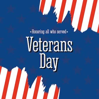 Feliz día de los veteranos, bandera americana de estilo grunge con letras en honor a la ilustración