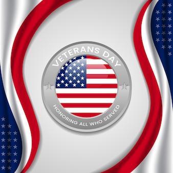 Feliz día de los veteranos con la bandera del círculo del vector de estados unidos