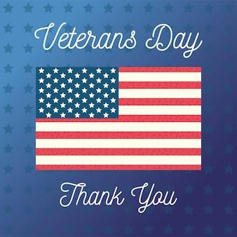 Feliz día de los veteranos, bandera de los estados unidos de américa, estrellas fondo azul