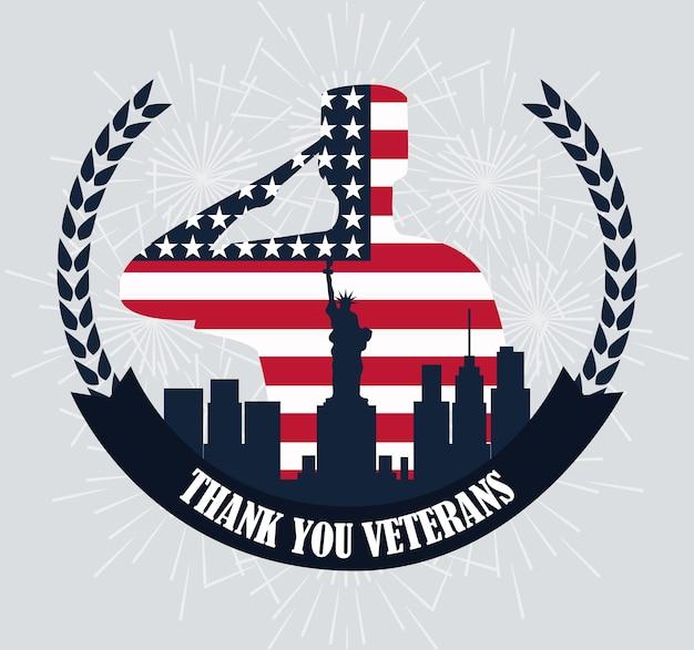 Feliz día de los veteranos, bandera de silueta soldado e ilustración de vector de ciudad de nueva york