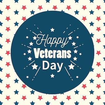 Feliz día de los veteranos, etiqueta de inscripción en la ilustración de fondo de estrellas