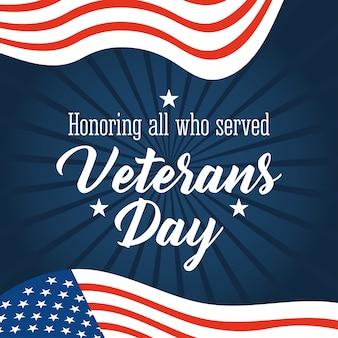 Feliz día de los veteranos, fuente manuscrita con banderas americanas en la ilustración de fondo de rayos azules