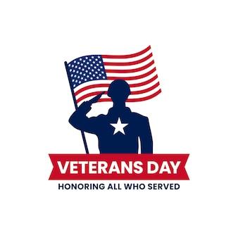 Feliz día de los veteranos en honor a todos los que sirvieron cartel de celebración de insignia de logotipo vintage retro