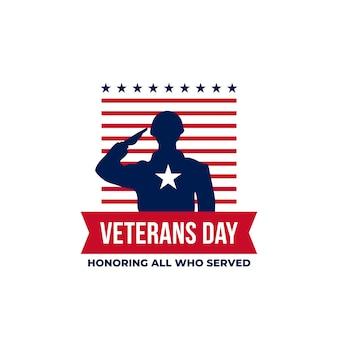 Feliz día de los veteranos en honor a todos los que sirvieron. ilustración de silueta de saludo militar de soldado con adorno gráfico de bandera de estados unidos
