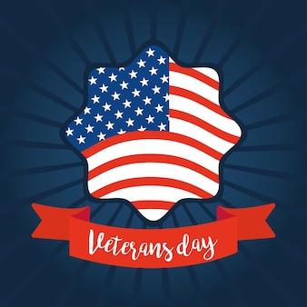 Feliz día de los veteranos, insignia de la bandera americana en la ilustración de fondo azul sunburst