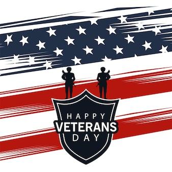 Feliz día de los veteranos letras en cartel con escudo y soldados en diseño de ilustración de bandera de ee.