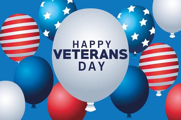 Feliz día de los veteranos letras con globos de helio flotando