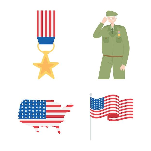 Feliz día de los veteranos, mapa de soldado medalla e iconos de la bandera americana.