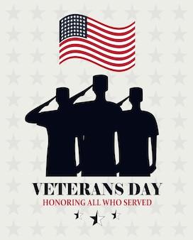 Feliz día de los veteranos, ondeando la bandera de ee. uu. y soldados saludando la ilustración de vector de tarjeta