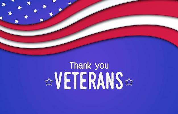 Feliz día de los veteranos papercut fondo
