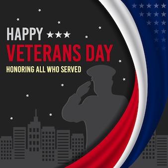 Feliz día de los veteranos con la silueta de un hombre