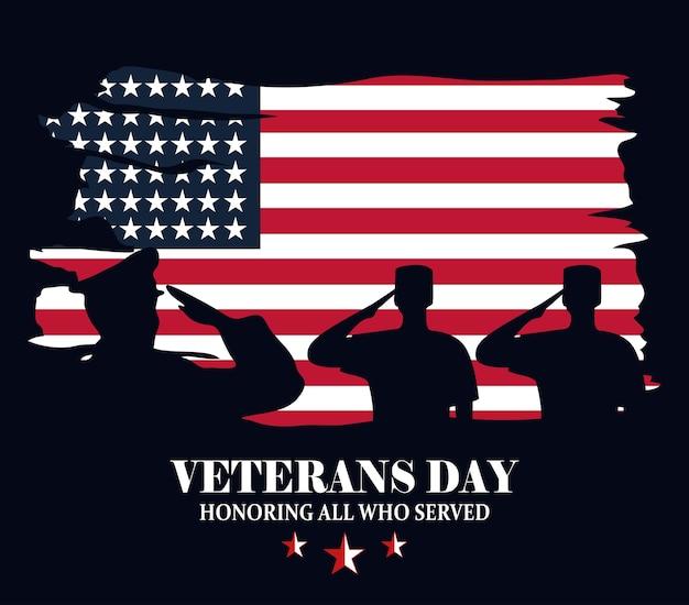 Feliz día de los veteranos, silueta de militares sobre ilustración de vector de estilo grunge de bandera
