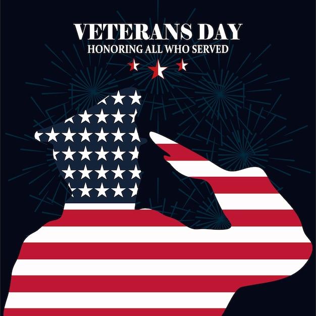 Feliz día de los veteranos, silueta soldado saludando con ilustración de vector de fondo de bandera