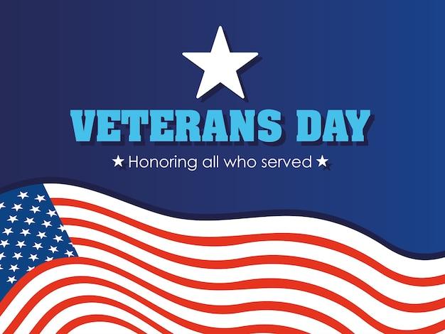 Feliz día de los veteranos, tarjeta de felicitación ilustración de celebración de bandera americana