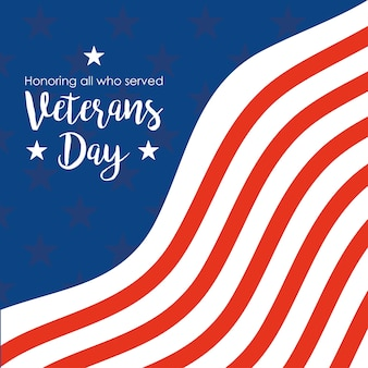 Feliz día de los veteranos, texto escrito a mano e ilustración de la tarjeta conmemorativa de la bandera de ee. uu.