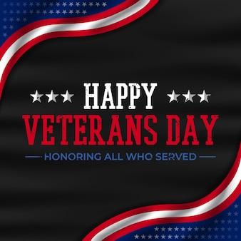 Feliz día de los veteranos con texto y tela
