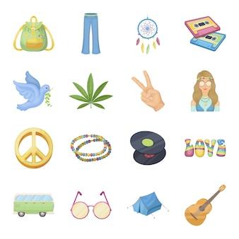 Feliz y dibujos animados conjunto de iconos. icono de conjunto de dibujos animados de paz amor y flor. pascua vacaciones .